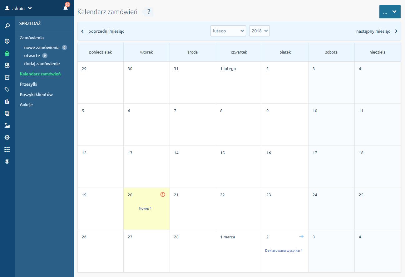 Zakładka Kalendarz Zamówień w menu Sprzedaż