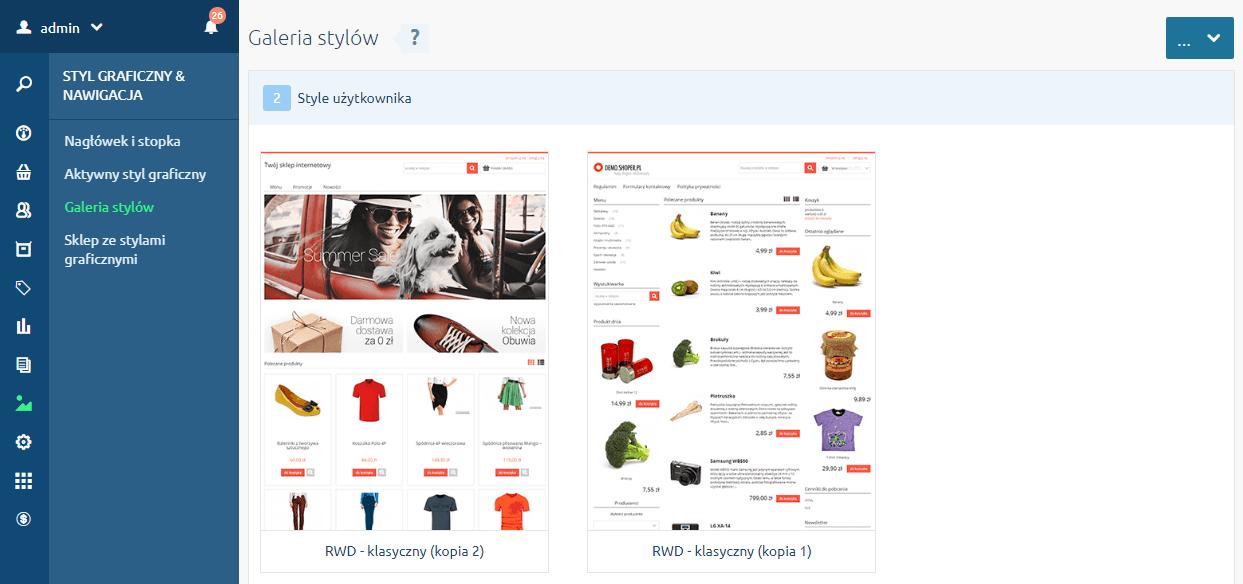 Galeria stylów w konfiguracji wyglądu sklepu