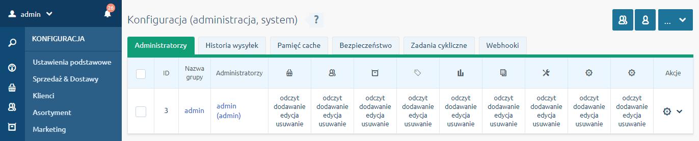 Zakładka Administratorzy w menu Konfiguracja - Administracja, system