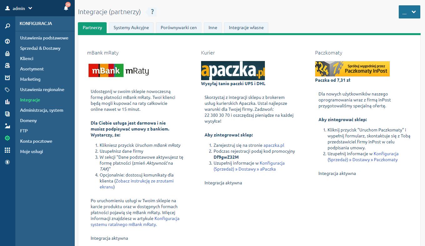 Zakładka Partnerzy w menu Konfiguracja - Integracje