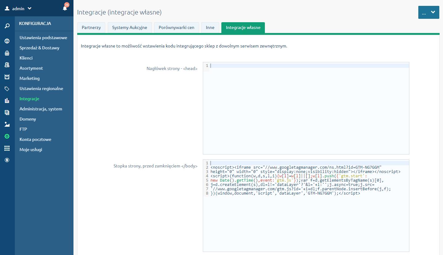Zakładka Integracje własne w menu Konfiguracja - Integracje