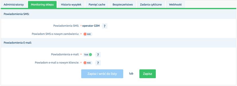 Zakładka Monitoring sklepu w menu Konfiguracja - Administracja, system