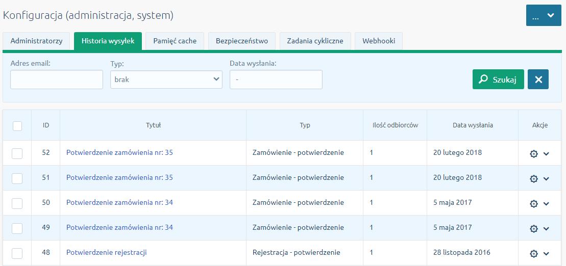 Zakładka Historia wysyłek w menu Konfiguracja - Administracja, system
