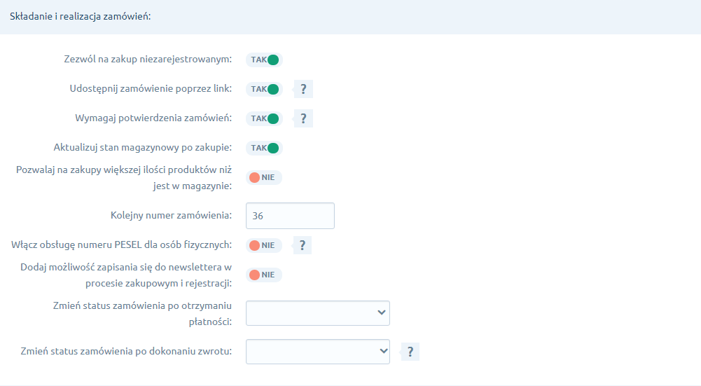 Składanie i realizacja zamówień w zakładce Zakupy