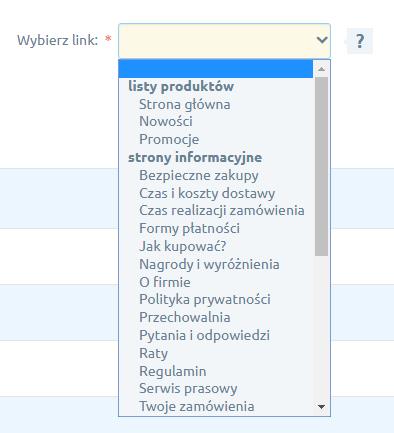 Grupy linków w Nagłówek i stopka