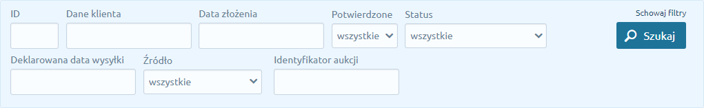 Zaawansowanie filtrowanie listy zamówień