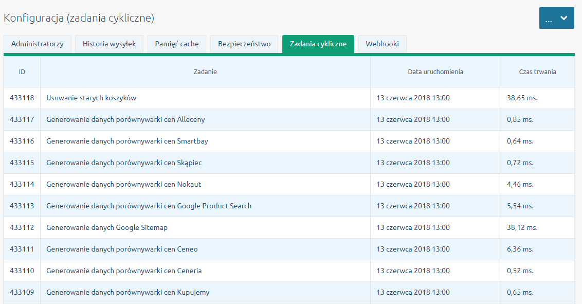 Zakładka Zadania cykliczne w menu Konfiguracja - Administracja, system