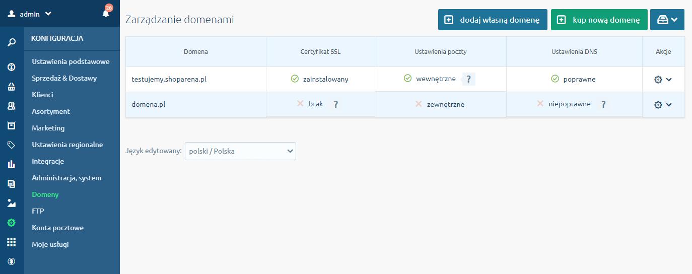 Zakładka Domeny w menu Konfiguracja - Hosting