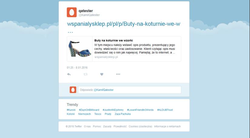 Twitter Karta Produktu Shoper