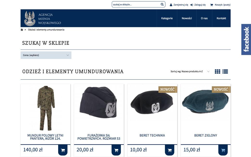 Agencja Mienia Wojskowego sklep internetowy