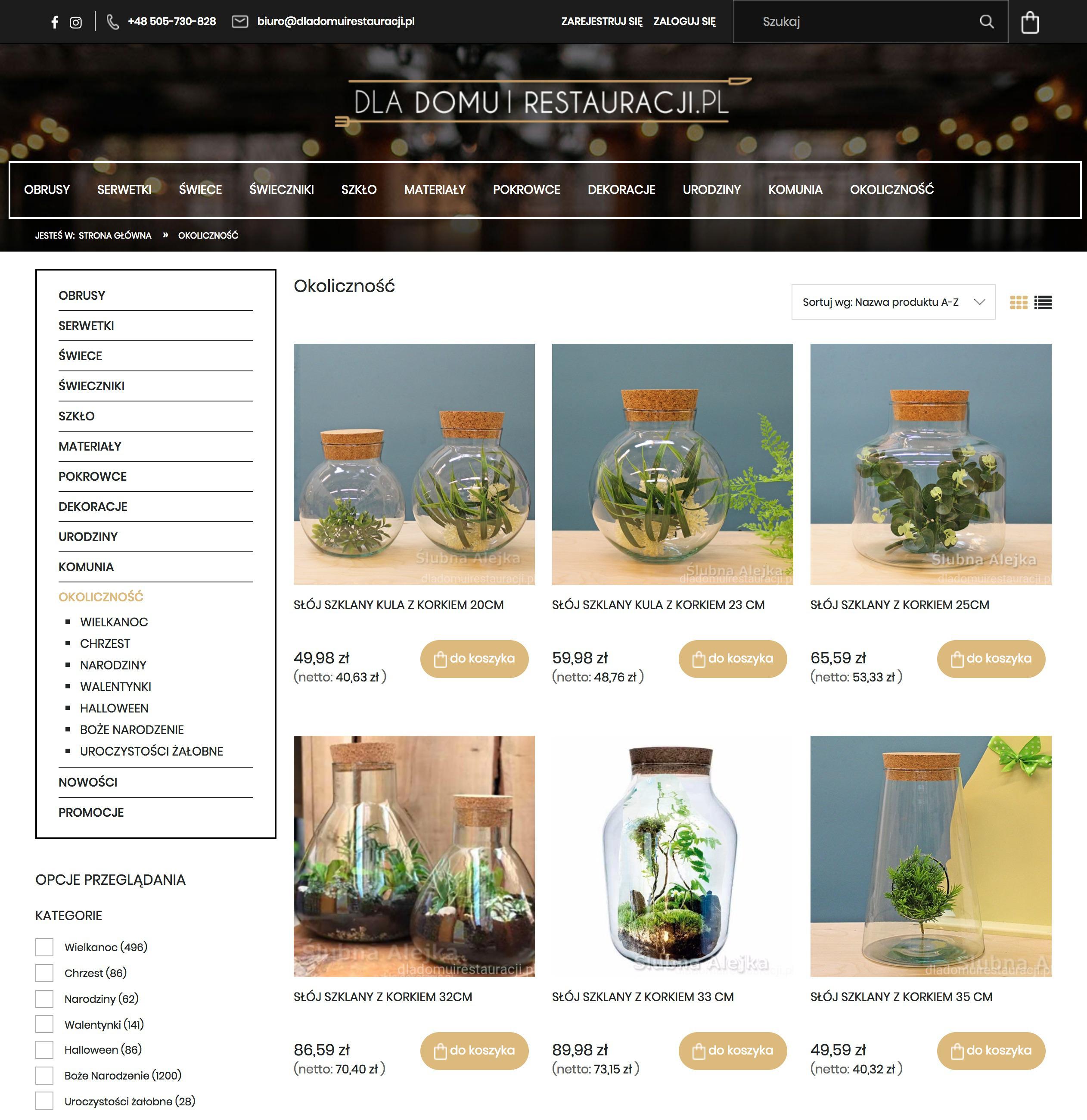 Sklep internetowy dekoracje ślubne restauracje