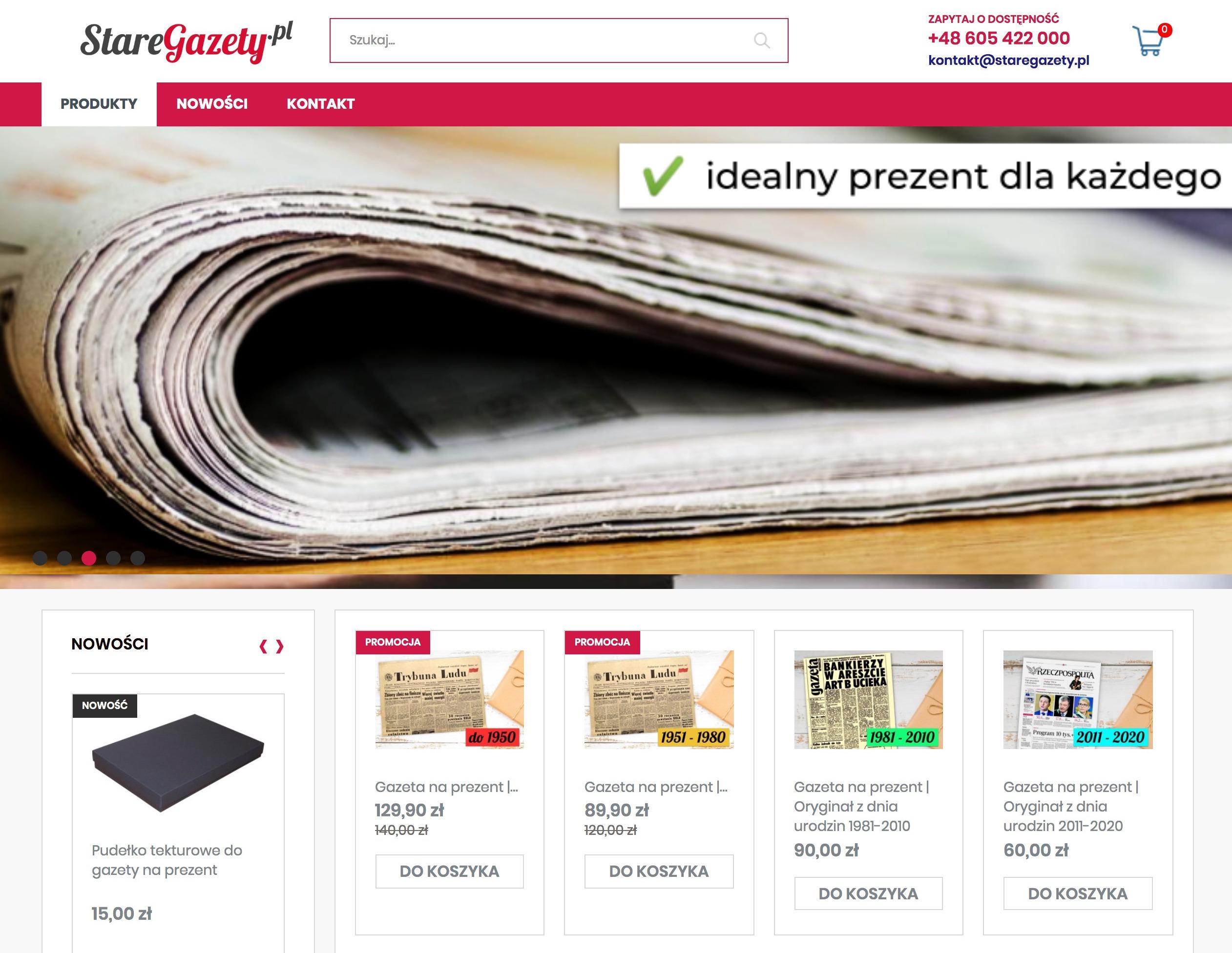 Stare Gazety Sklep internetowy Shoper